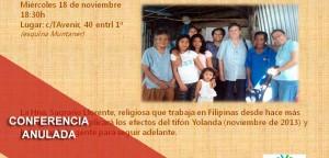 Anulada la Conferencia «Rehacer la vida después de un tifón»