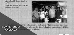 """Anulada la Conferencia """"Rehacer la vida después de un tifón"""""""